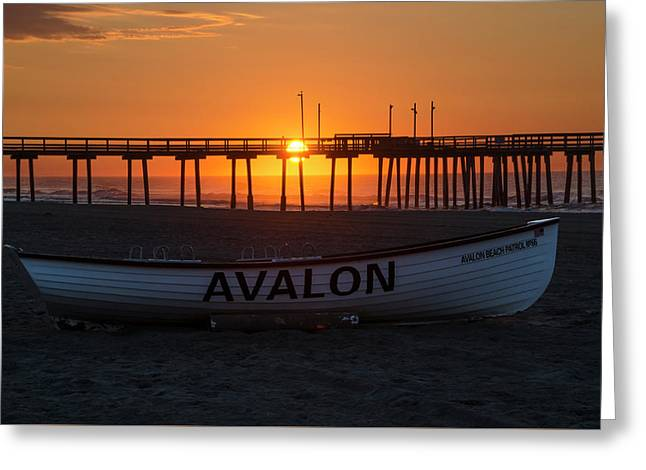 32nd Street Pier - Sunrise At Avalon New Jersey Greeting Card