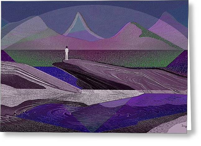 332 - Man On The Rocks  Greeting Card by Irmgard Schoendorf Welch