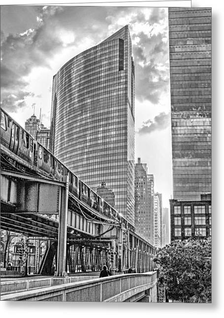 333 W Wacker Drive Black And White Greeting Card by Christopher Arndt