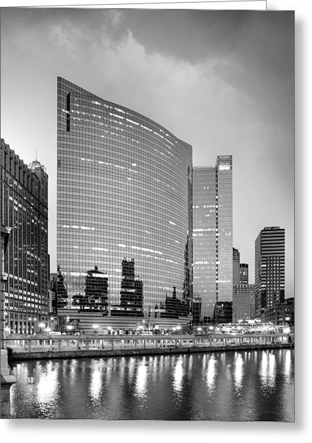 333 Wacker Black And White Greeting Card by Donald Schwartz