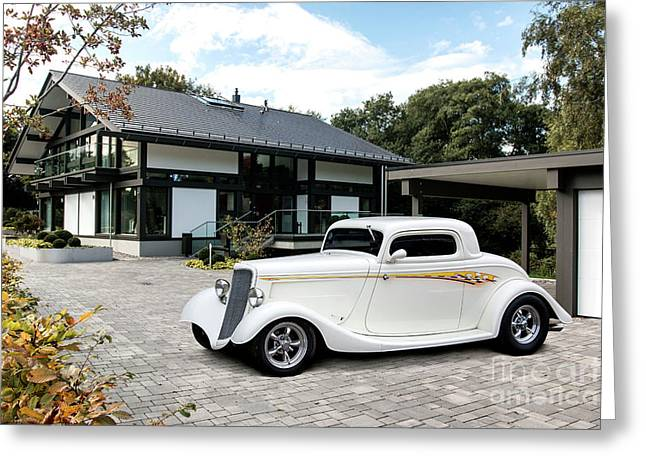 34 Ford 3 Window Coupe Huf Haus Greeting Card by Roger Lighterness