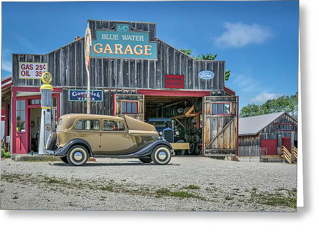'34 Ford Sedan At Blue Water Garage Greeting Card