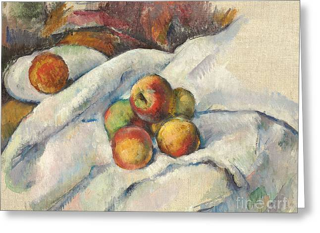 Apples On A Cloth Greeting Card by Paul Cezanne