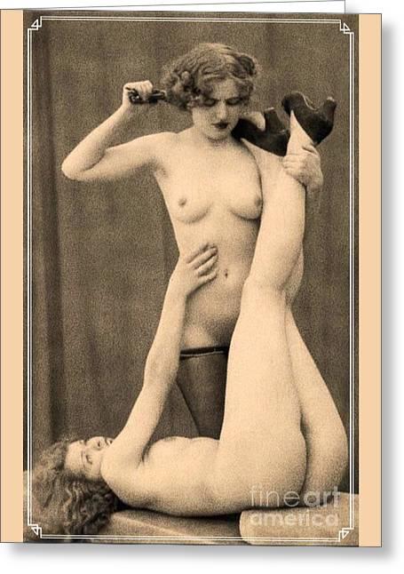 Digital Ode To Vintage Nude By Mb Greeting Card