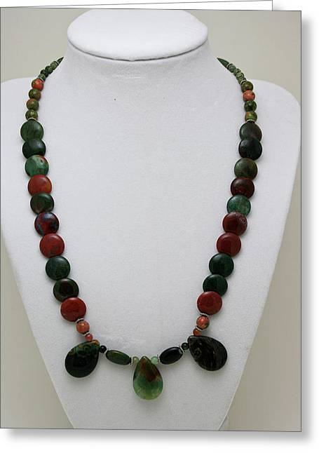 3505 Fancy Jasper And Unakite Necklace Greeting Card by Teresa Mucha