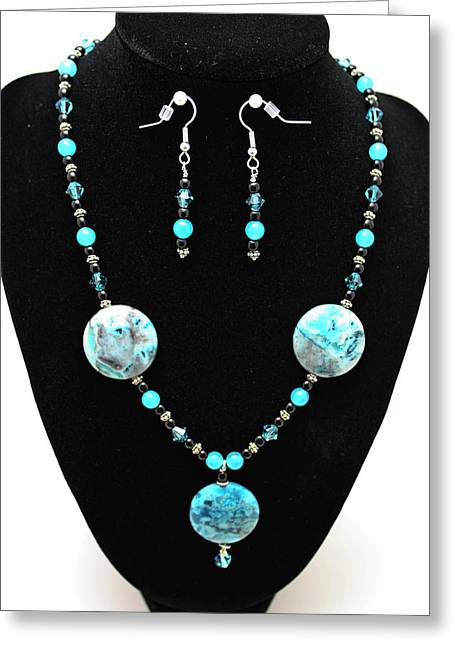 3508 Crazy Lace Agate Necklace And Earrings Greeting Card by Teresa Mucha