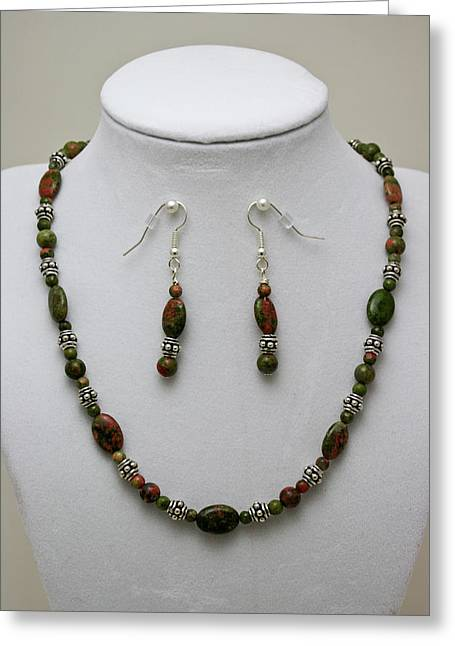 3525 Unakite Necklace And Earring Set Greeting Card by Teresa Mucha