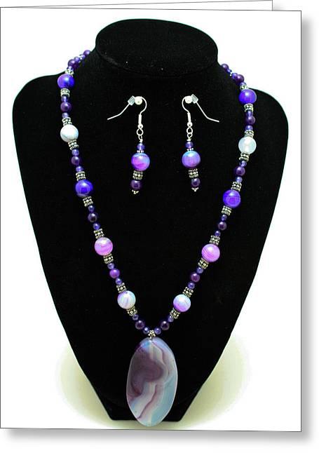 3547 Purple Veined Agate Set Greeting Card by Teresa Mucha