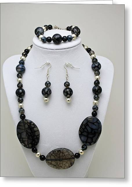 3548 Cracked Agate Necklace Bracelet And Earrings Set Greeting Card