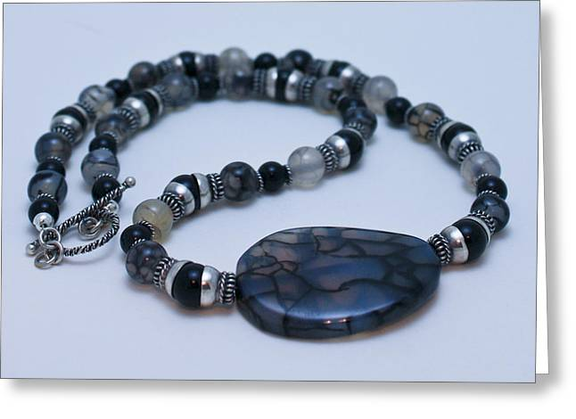 3552 Cracked Agate Necklace Greeting Card by Teresa Mucha