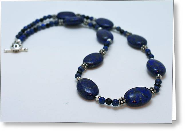 Sterling Jewelry Greeting Cards - 3553 Lapis Lazuli Necklace and Earrings Set Greeting Card by Teresa Mucha