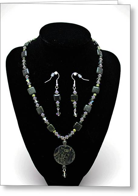3576 Kambaba And Green Lace Jasper Necklace And Earrings Greeting Card