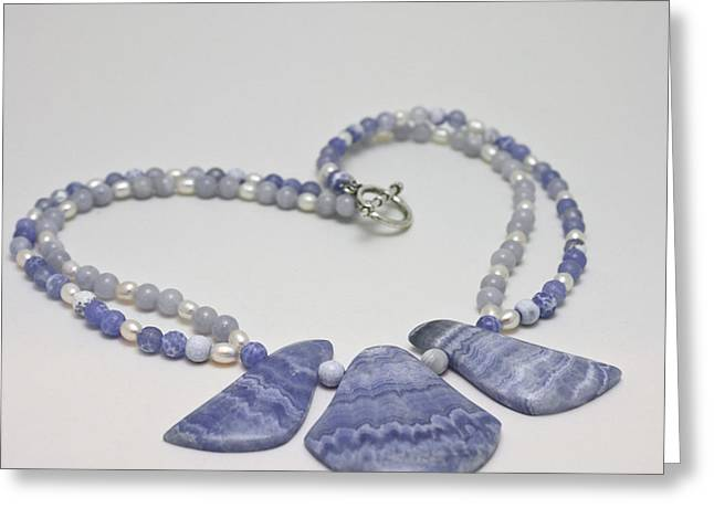 3588 Blue Banded Agate Necklace Greeting Card