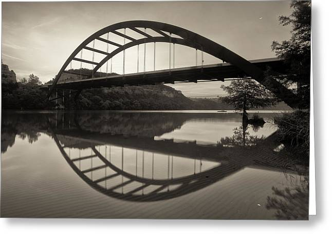 360 Bridge Morning In Sepia Greeting Card