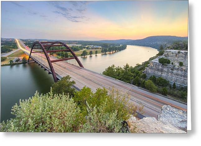360 Bridge Sunset Over Austin In August 2 Greeting Card