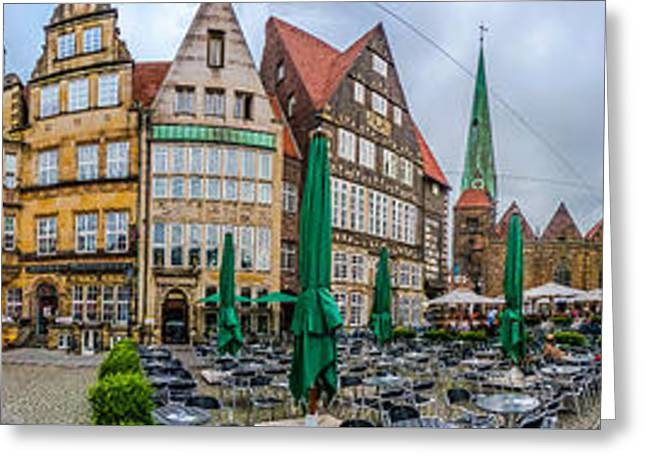 360 Panorama Of Famous Bremen Market Square Greeting Card