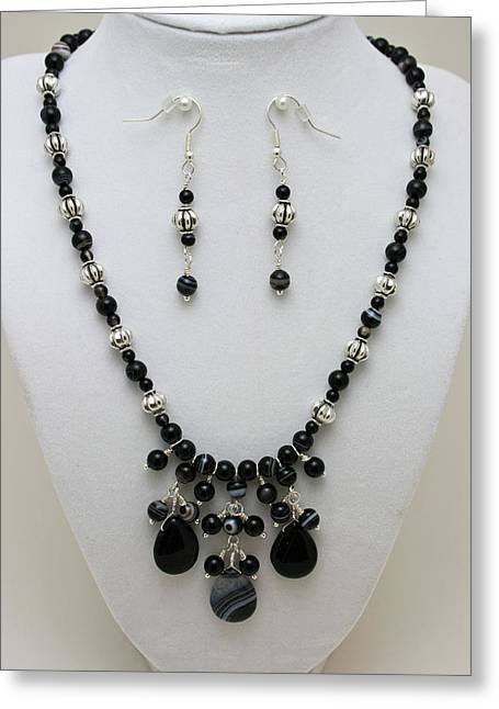 Bead Jewelry Greeting Cards - 3601 Black Banded Onyx Necklace and Earrings Greeting Card by Teresa Mucha