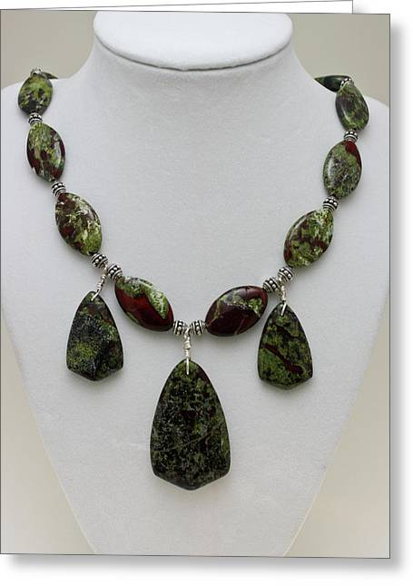 Sterling Silver Jewelry Greeting Cards - 3602 Dragons Blood Jasper Necklace Greeting Card by Teresa Mucha