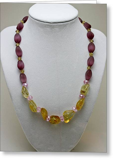 Gold Necklace Greeting Cards - 3603 Citrine and Amethyst Cats Eye Necklace Greeting Card by Teresa Mucha