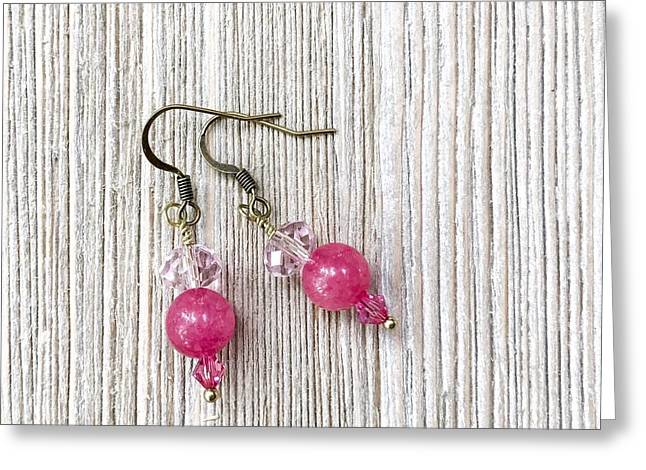 3727e Pretty In Pink Pierced Earrings Greeting Card