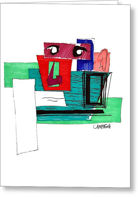 Greeting Card featuring the drawing Untitled by Teddy Campagna
