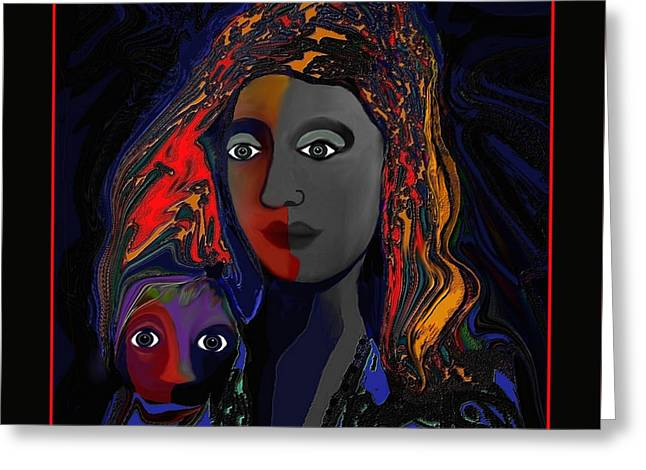 Greeting Card featuring the digital art 381- Child Keep Your Mouth Shut 2017 by Irmgard Schoendorf Welch
