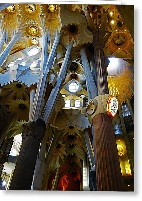 Artistic Achitecture Within The Sagrada Familia In Barcelona Greeting Card by Richard Rosenshein
