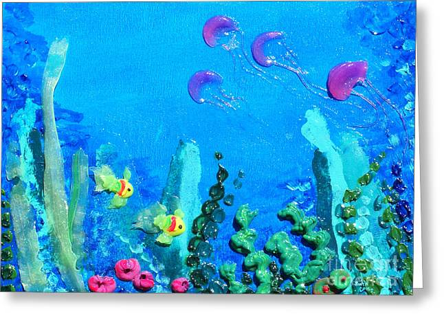 Pink Reliefs Greeting Cards - 3D Under the Sea Greeting Card by Ruth Collis
