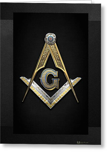 3rd Degree Mason - Master Mason Jewel On Black Canvas Greeting Card