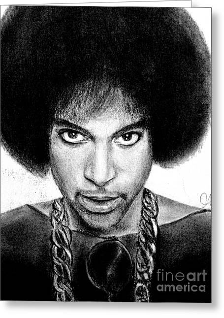 3rd Eye Girl - Prince Charcoal Portrait Drawing - Ai P Nilson Greeting Card