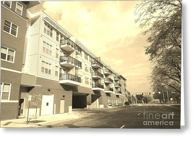 3rd Street Columbus Indiana - Sepia Greeting Card by Scott D Van Osdol