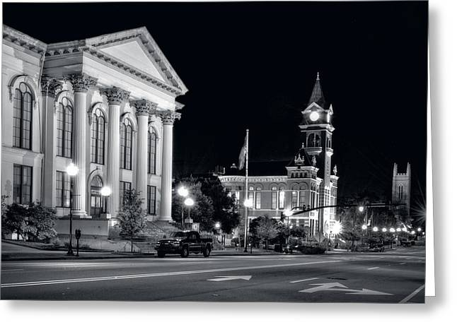 3rd Street In Wilmington North Carolina In Black And White Greeting Card