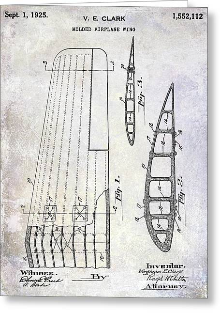 1925 Airplane Wing Patent Greeting Card by Jon Neidert