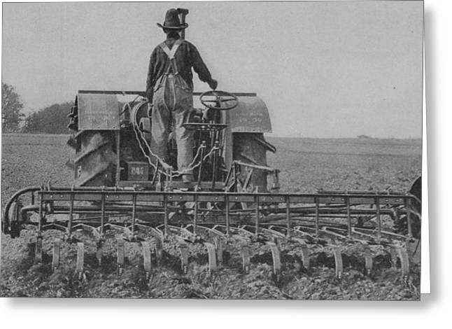 A Farmer Driving A Tractor Greeting Card by American School