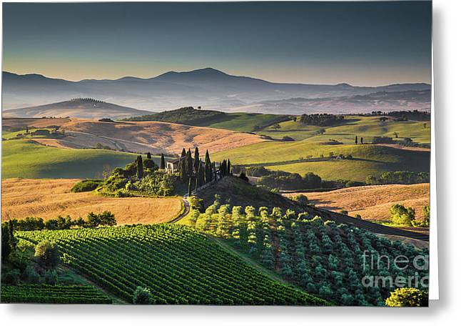 A Morning In Tuscany Greeting Card by JR Photography