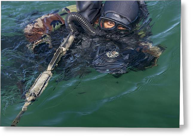 Swimsuit Photography Greeting Cards - A Navy Seal Combat Swimmer Greeting Card by Michael Wood