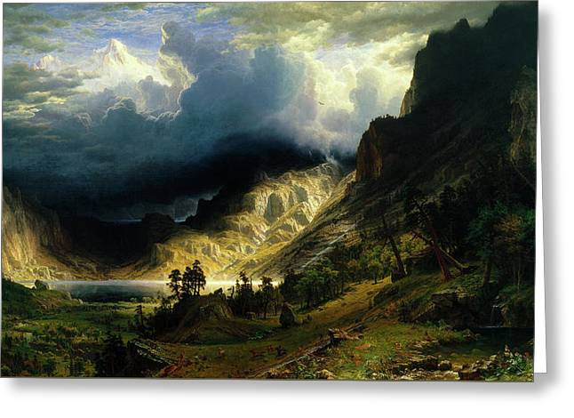 A Storm In The Rocky Mountains Greeting Card by Albert Bierstadt
