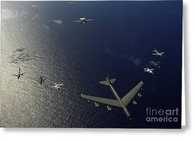 Self View Greeting Cards - A U.s. Air Force B-52 Stratofortress Greeting Card by Stocktrek Images
