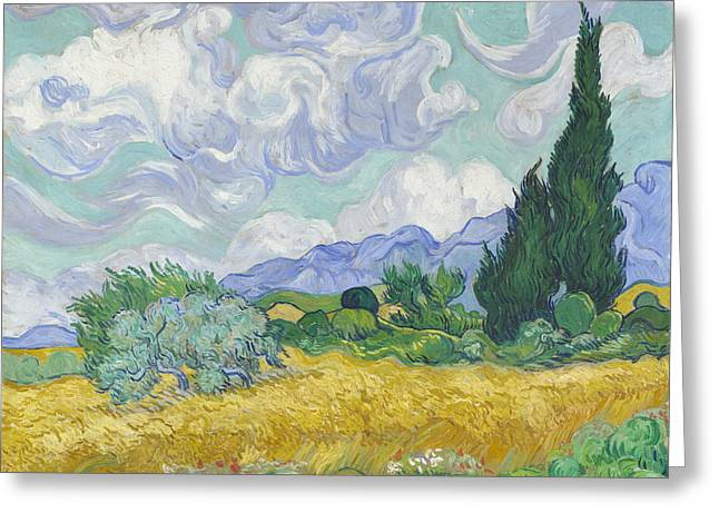 A Wheatfield, With Cypresses  Greeting Card