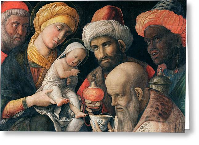 Adoration Of The Magi Greeting Card by Andrea Mantegna