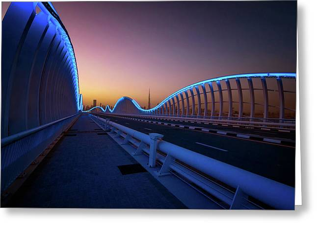 Amazing Night Dubai Vip Bridge With Beautiful Sunset. Private Ro Greeting Card