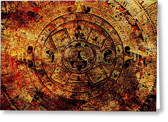 Ancient Mayan Calendar, Abstract Color Background. Greeting Card by Jozef Klopacka