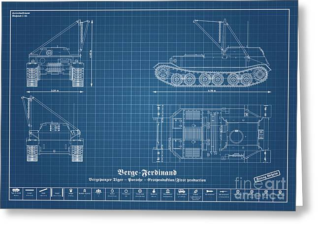 Armored Recovery Vehicle - Bergepanzer Tiger Greeting Card by Marcel Thomas