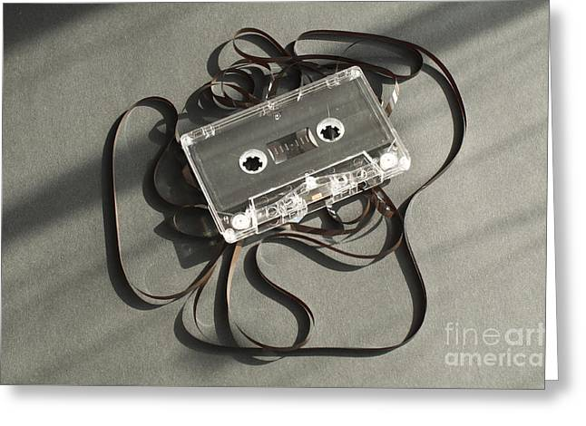 Audio Tape Cassette With Subtracted Out Tape.  Greeting Card by Deyan Georgiev