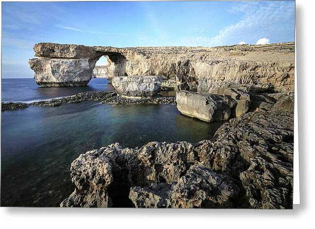 Azure Window - Gozo Greeting Card by Joana Kruse
