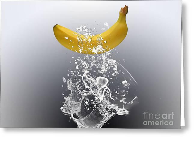 Banana Splash Greeting Card by Marvin Blaine