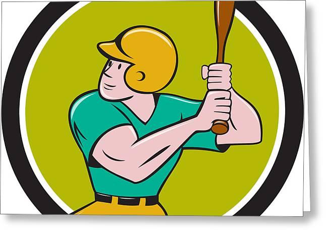 Baseball Player Batting Circle Cartoon Greeting Card
