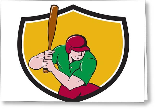 Baseball Player Batting Shield Cartoon Greeting Card