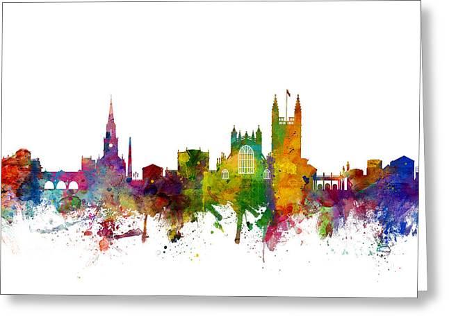 Bath England Skyline Cityscape Greeting Card by Michael Tompsett