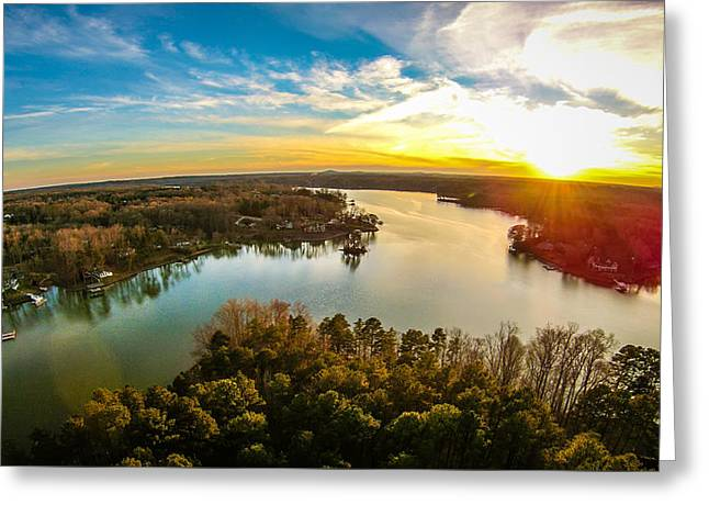 Beautiful Sunset Over Lake Wylie South Carolina Greeting Card by Alex Grichenko